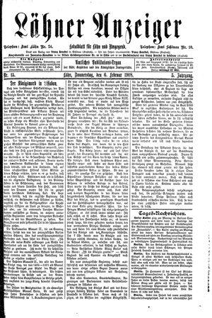 Lähner Anzeiger vom 06.02.1908