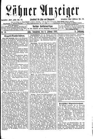 Lähner Anzeiger vom 08.02.1908