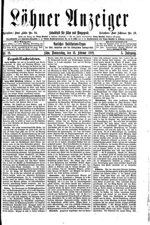 Lähner Anzeiger vom 13.02.1908