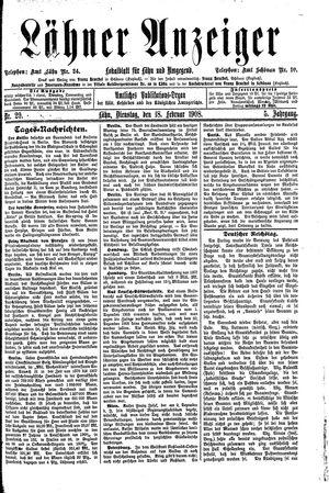 Lähner Anzeiger vom 18.02.1908