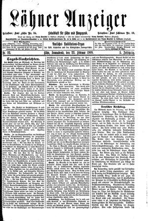 Lähner Anzeiger vom 22.02.1908