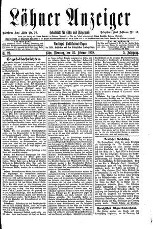 Lähner Anzeiger on Feb 25, 1908