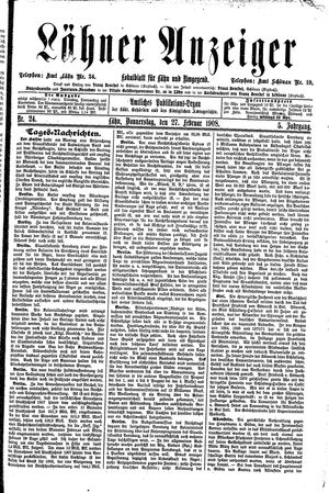 Lähner Anzeiger vom 27.02.1908