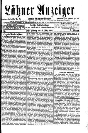 Lähner Anzeiger vom 10.03.1908