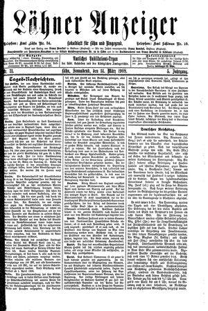Lähner Anzeiger vom 14.03.1908