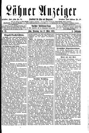 Lähner Anzeiger vom 17.03.1908