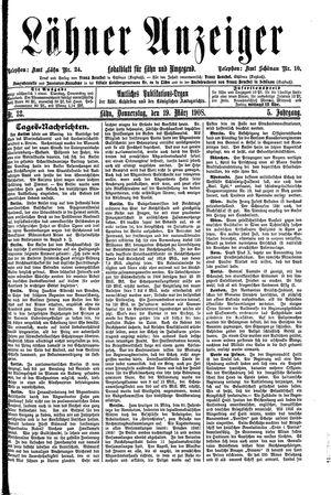 Lähner Anzeiger vom 19.03.1908