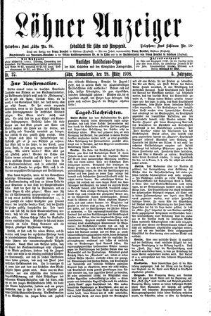 Lähner Anzeiger vom 28.03.1908