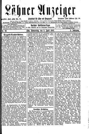 Lähner Anzeiger vom 02.04.1908