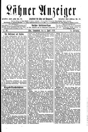 Lähner Anzeiger vom 04.04.1908