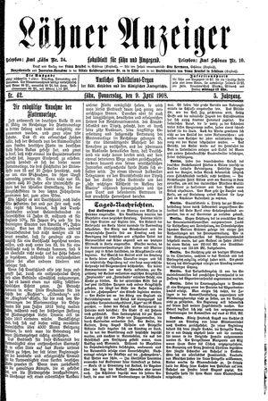Lähner Anzeiger vom 09.04.1908