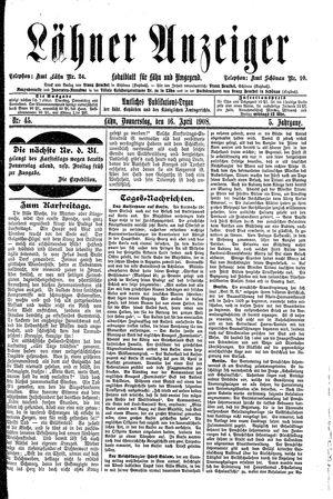 Lähner Anzeiger vom 16.04.1908