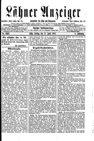 Lähner Anzeiger vom 17.04.1908