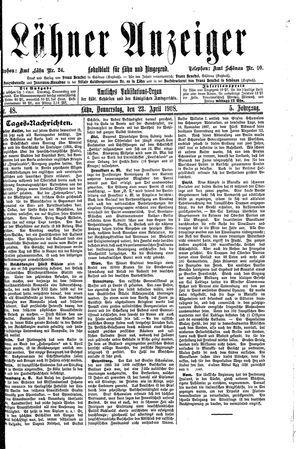 Lähner Anzeiger vom 23.04.1908
