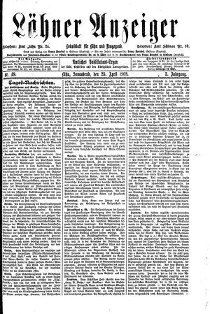 Lähner Anzeiger vom 25.04.1908