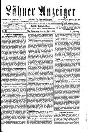 Lähner Anzeiger vom 30.04.1908