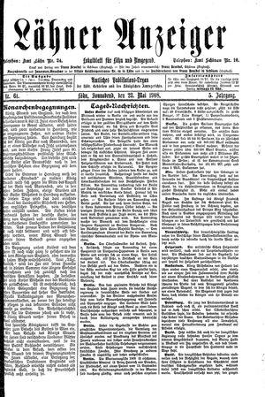 Lähner Anzeiger vom 23.05.1908