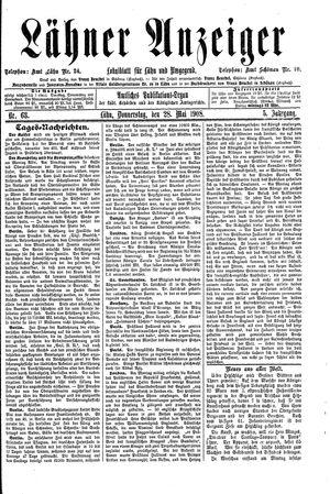 Lähner Anzeiger vom 28.05.1908