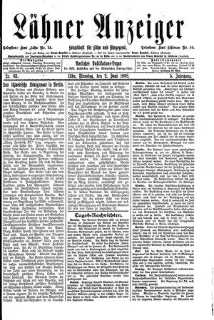 Lähner Anzeiger vom 02.06.1908