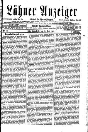 Lähner Anzeiger vom 13.06.1908