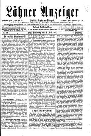 Lähner Anzeiger vom 18.06.1908