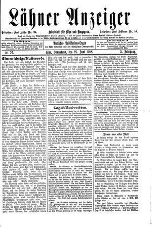 Lähner Anzeiger vom 27.06.1908