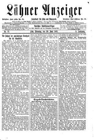 Lähner Anzeiger vom 30.06.1908