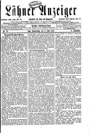 Lähner Anzeiger vom 02.07.1908