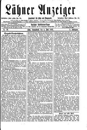 Lähner Anzeiger vom 04.07.1908