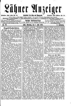 Lähner Anzeiger vom 07.07.1908