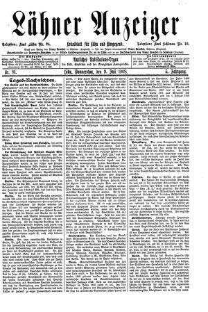 Lähner Anzeiger vom 09.07.1908