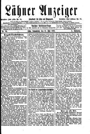 Lähner Anzeiger vom 18.07.1908