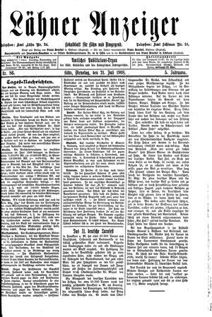 Lähner Anzeiger vom 21.07.1908