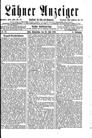 Lähner Anzeiger vom 23.07.1908