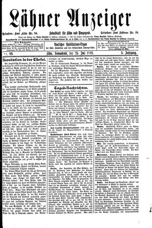 Lähner Anzeiger vom 25.07.1908