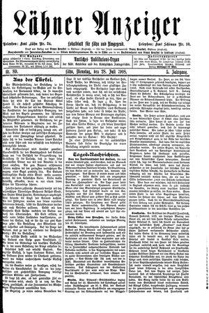 Lähner Anzeiger vom 28.07.1908