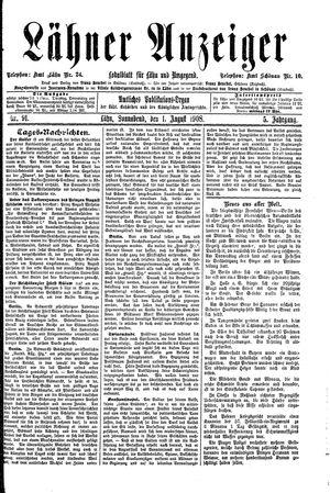 Lähner Anzeiger vom 01.08.1908