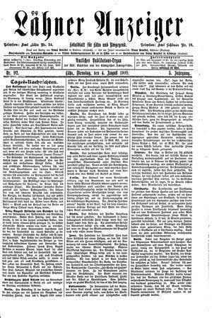 Lähner Anzeiger vom 04.08.1908