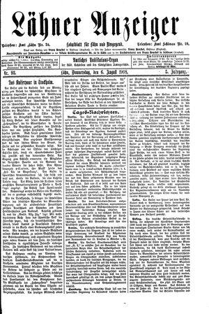 Lähner Anzeiger vom 06.08.1908