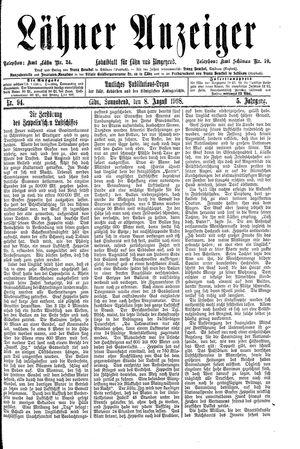 Lähner Anzeiger vom 08.08.1908