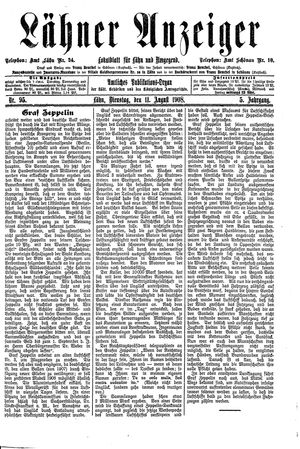 Lähner Anzeiger on Aug 11, 1908