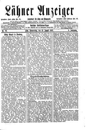 Lähner Anzeiger vom 13.08.1908