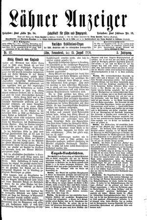 Lähner Anzeiger vom 15.08.1908