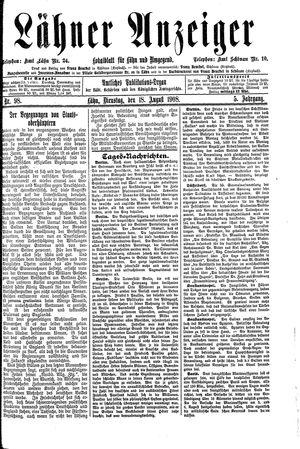Lähner Anzeiger vom 18.08.1908