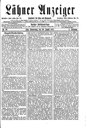 Lähner Anzeiger vom 20.08.1908