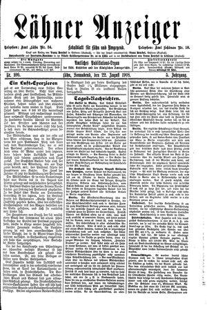 Lähner Anzeiger vom 22.08.1908