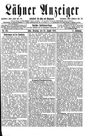 Lähner Anzeiger vom 25.08.1908