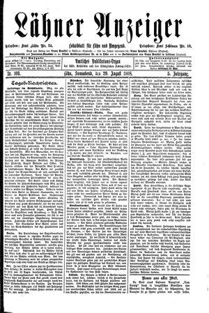 Lähner Anzeiger vom 29.08.1908