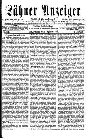 Lähner Anzeiger vom 01.09.1908