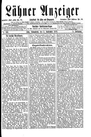 Lähner Anzeiger vom 05.09.1908